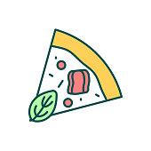 istock Pizza slice RGB color icon 1297824441