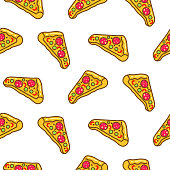 Pizza slice seamless pattern cartoon vector