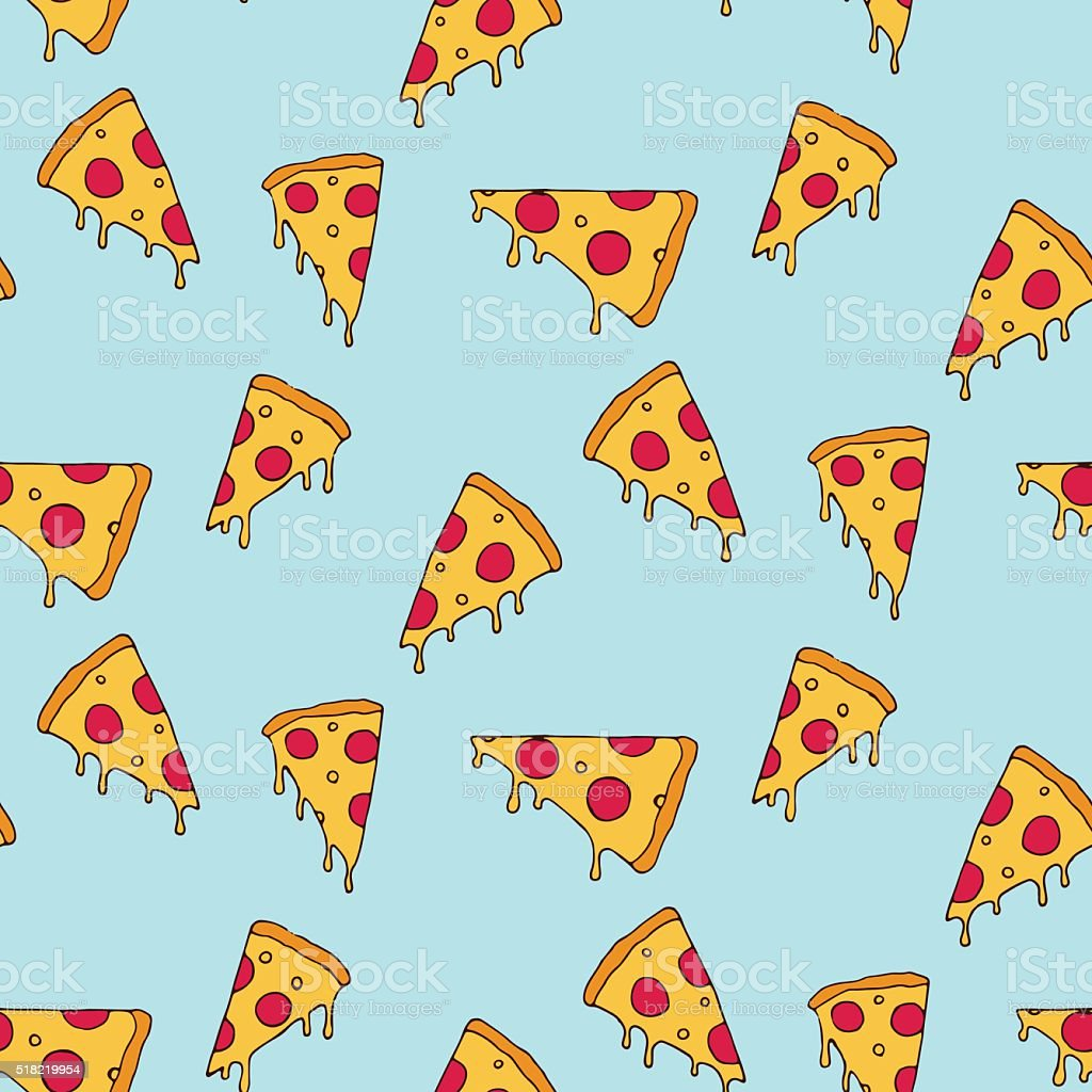 Pizza slice seamless pattern vector art illustration