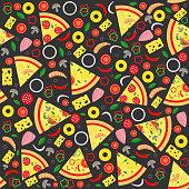 Pizza slice seamless pattern. Background vector illustration.