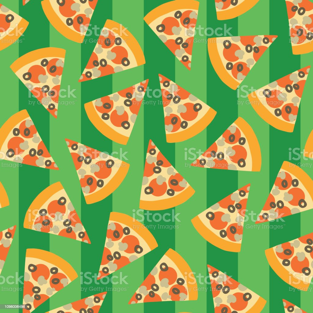Pizza slice seamless vector pattern. Background vector art illustration