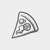 Pizza slice sketch hand drawn doodle icon
