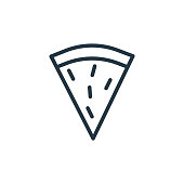 istock pizza slice vector icon isolated on white background. Outline, thin line pizza slice icon for website design and mobile, app development. Thin line pizza slice outline icon vector illustration. 1270027869