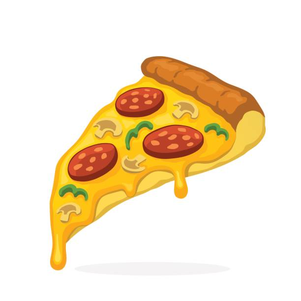Pizza slice with melted cheese pepperoni and mushrooms vector art illustration
