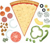 """Highly rendered illustration of a slice of pizza and its ingredients. Make your favorite flavor. Scale to any size. Layered and grouped for easy edits. Check out my """"Vector Food and Utensils"""" light box for more."""