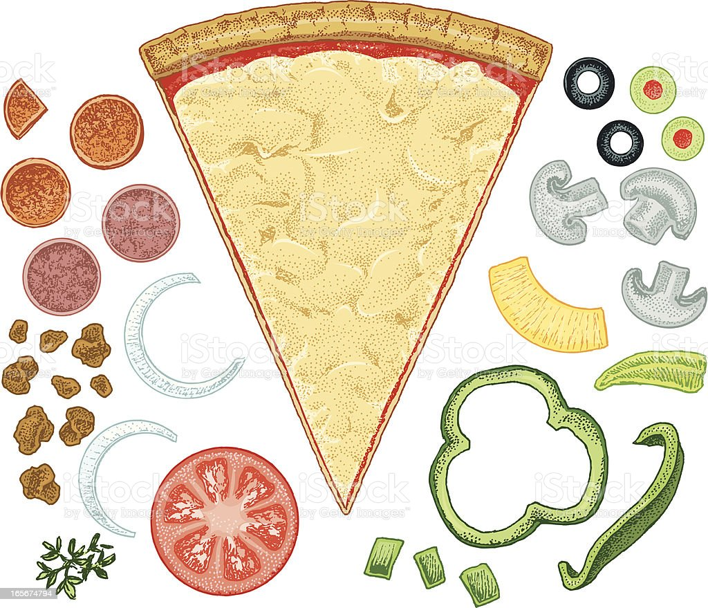 Pizza slice with toppings vector art illustration