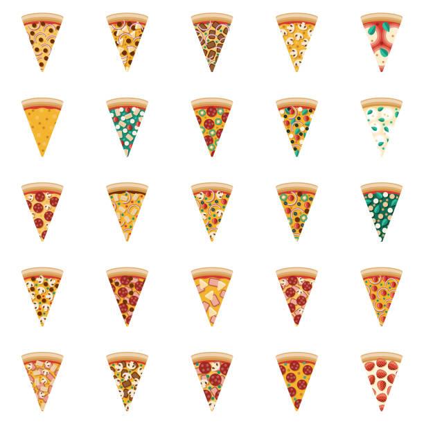 illustrazioni stock, clip art, cartoni animati e icone di tendenza di set di icone fette di pizza - pizza