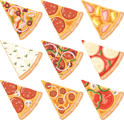 A set of pizza slice icons. No gradients used.