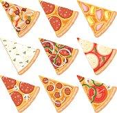 Pizza Slices Icon Set