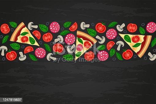 istock Pizza slices ingredients black textured backround 1247815637