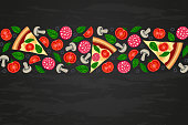 Pizza slices and ingredients on black textured backround. Food border with tomato, olive, sausage, mushroom, basil top view. Flat italian fast food vector illustration for web, advert, menu, flyer
