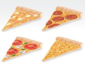 Four slices of pizza: Ham and pineapple, pepperoni, vegetarian and cheese. Gradients were used when creating this illustration.
