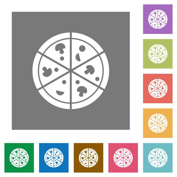 pizza quadratische flache symbole - winkelküche stock-grafiken, -clipart, -cartoons und -symbole