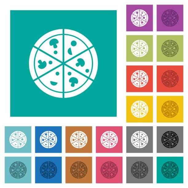 pizza-quadrat flach multi farbige symbole - winkelküche stock-grafiken, -clipart, -cartoons und -symbole