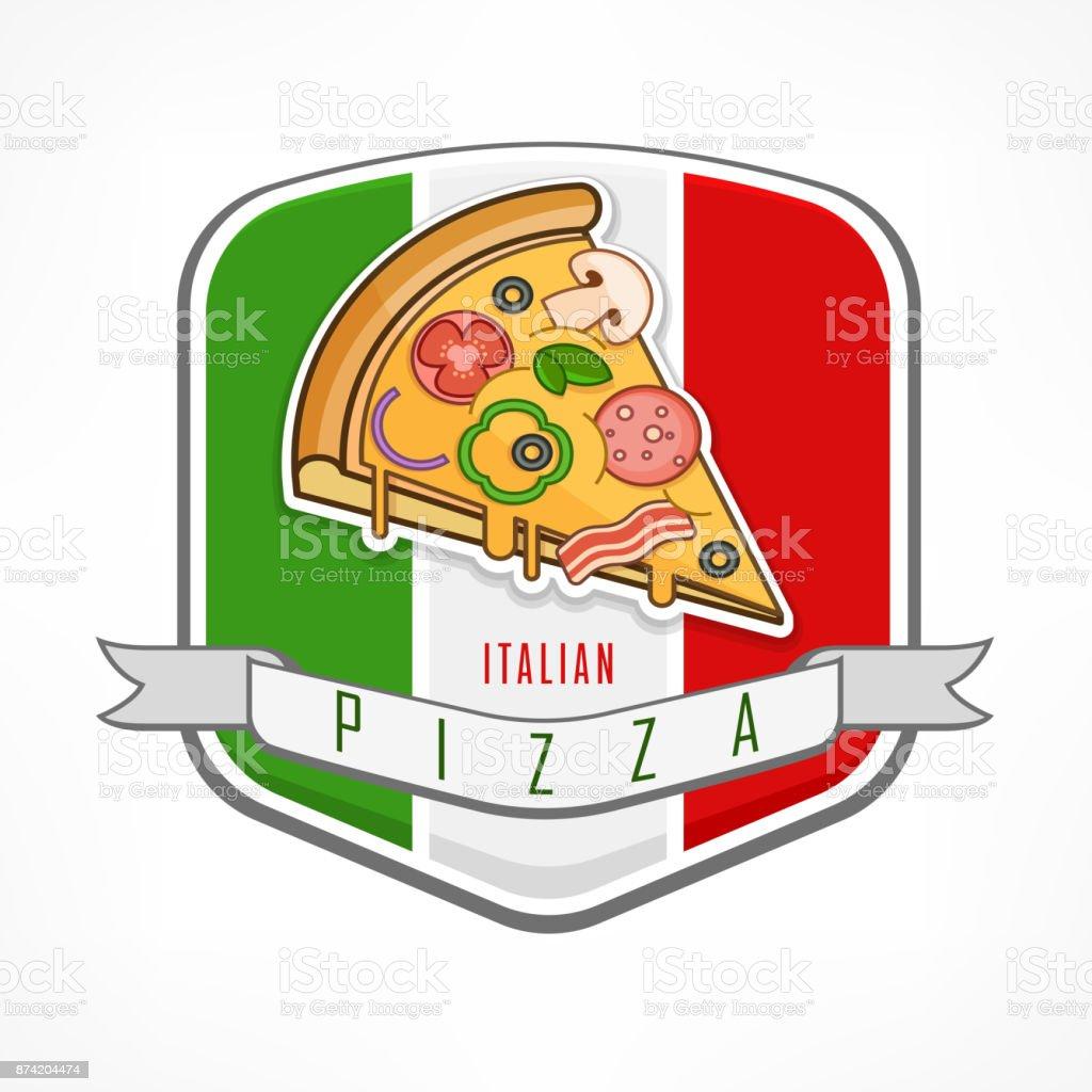 Pizza sticker on white vector art illustration