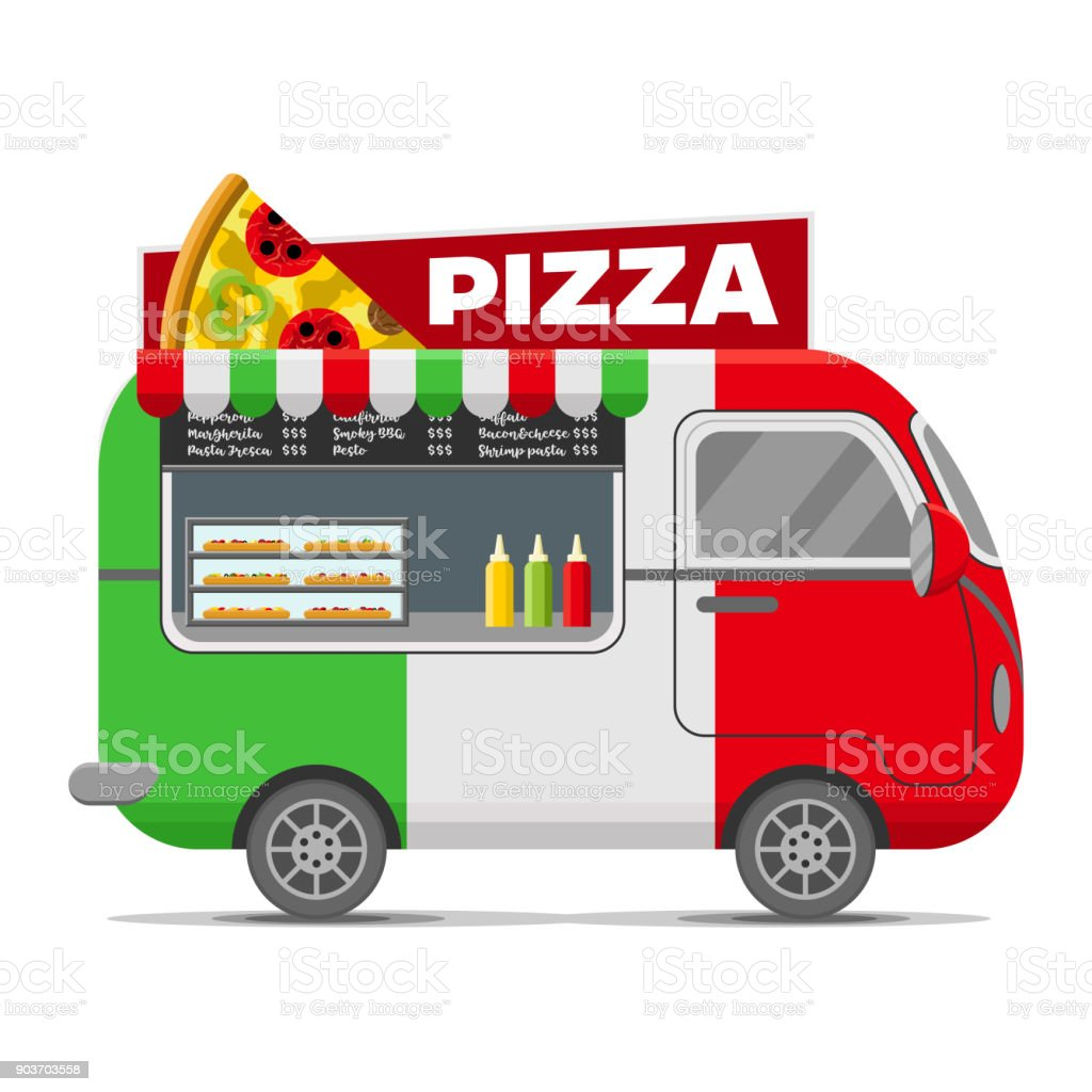 Pizza street food vector caravan trailer vector art illustration