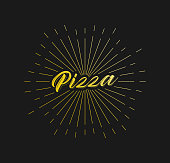 Pizza. Sunburst Line Rays. For Greeting Card, Poster and Web Banner. Vector Illustration, Design Template.