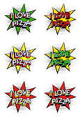 I Love Pizza text in comics book style in vector