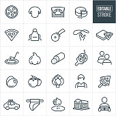 A set college pizza icons that include editable strokes or outlines using the EPS vector file. The icons include pizza, mushrooms, brick oven, cheese, apron, slice of cheese, pizza cutter, dough, pizza box, pizza sauce, making, baking, garlic, pepperoni, salami, fresh, customers, seated, olives, tomatoes, artichoke, waiter, cook, delivery car, delivery, rolling out dough, restaurant and delivery boy.