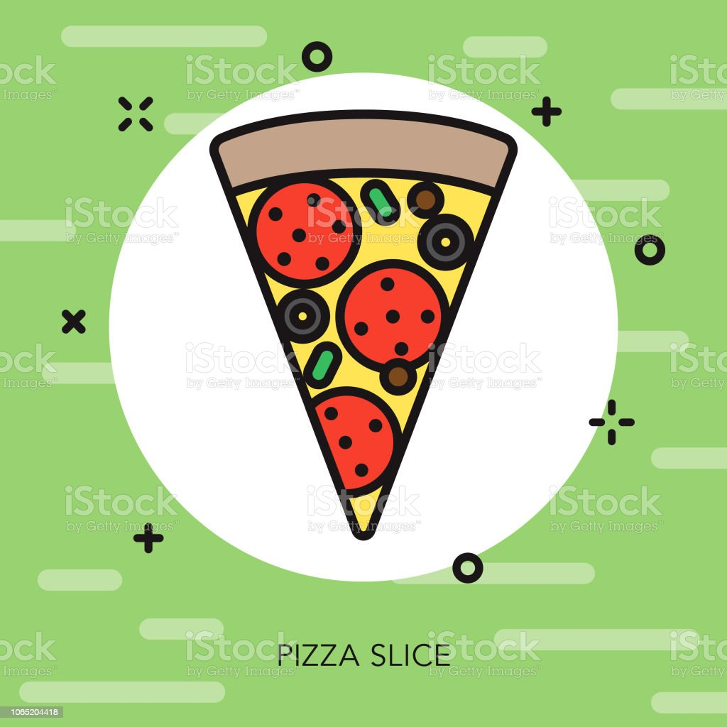 Pizza Thin Line Italy Icon vector art illustration