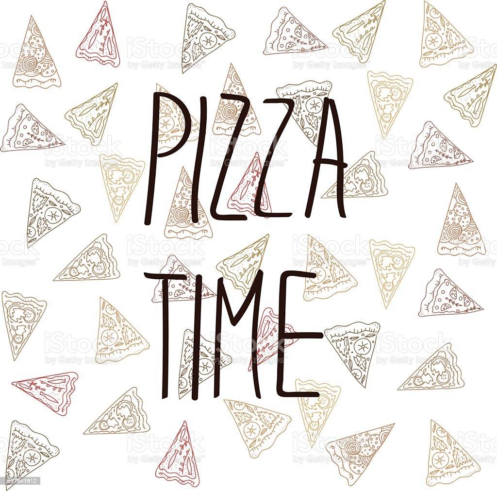 Pizza de tempo ilustração de pizza de tempo e mais banco de imagens de adulação royalty-free