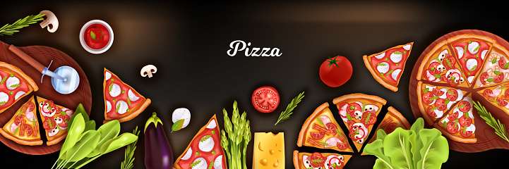 Pizza top view background with cutter, slices, cutting board, vegetables, cheese, tomato.