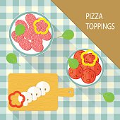 Pizza Toppings Collection. vector flat illustration