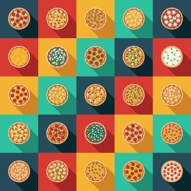 ilustraciones, imágenes clip art, dibujos animados e iconos de stock de pizza toppings icon set - pizza