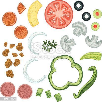 pizza toppings stock vector art 165674804 istock pizza toppings clipart free pizza toppings clip art sheet