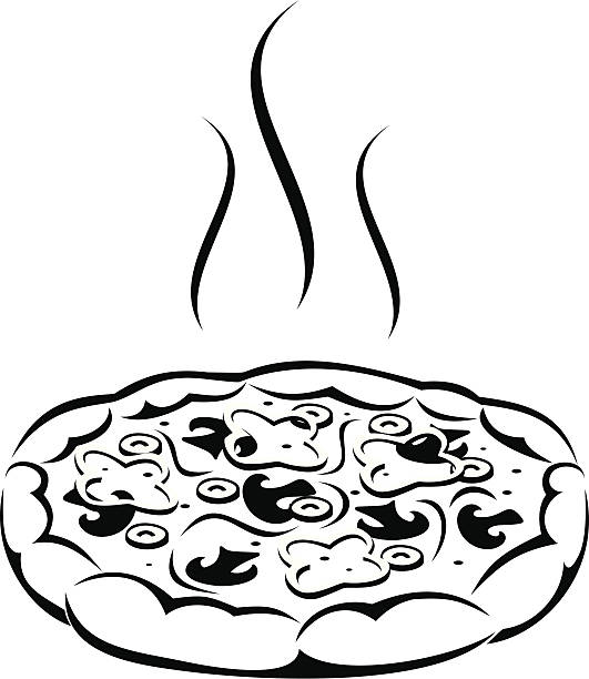 Best Black And White Pizza Illustrations, Royalty-Free ...