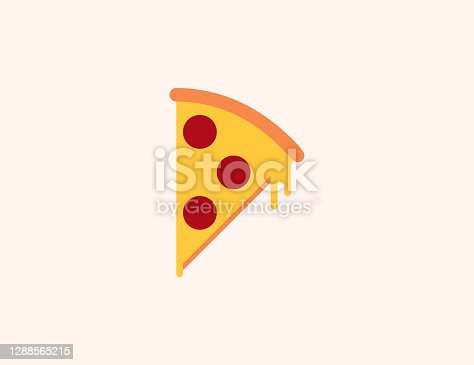 istock Pizza vector icon. Isolated slice of pizza flat colored symbol - Vector 1288565215