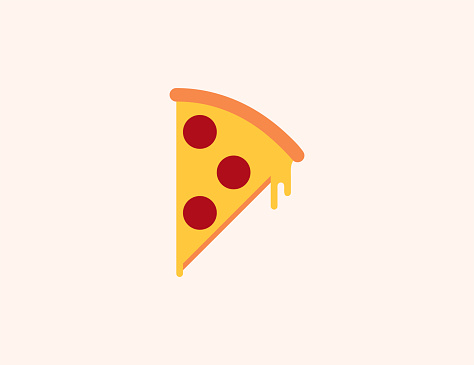 Pizza vector icon. Isolated slice of pizza flat colored symbol - Vector