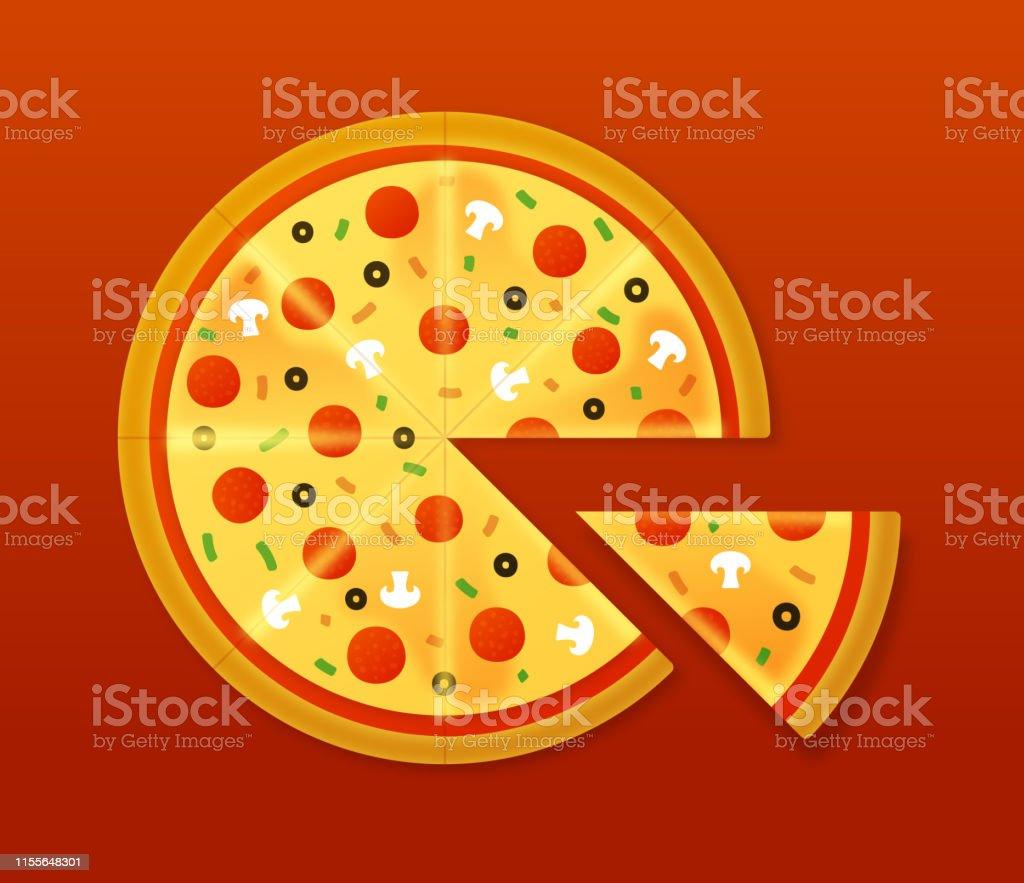 pizza - Lizenzfrei Ansicht von oben Vektorgrafik
