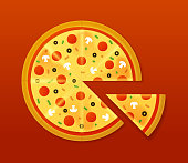 Freshly baked pizza with pepperoni, mushrooms, olives and other pizza toppings for fast food meal.