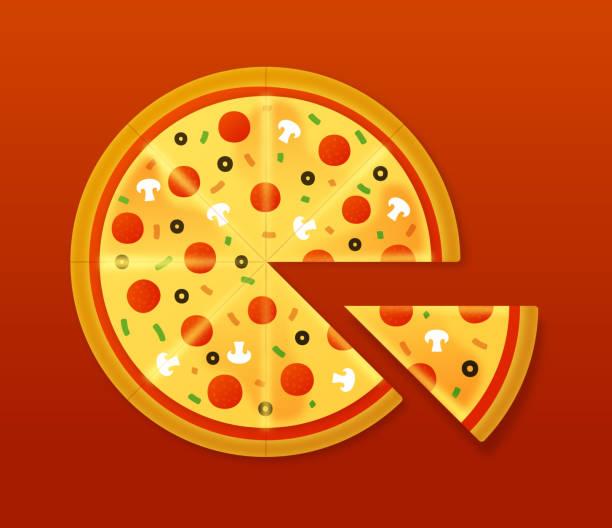 pizza - scheibe portion stock-grafiken, -clipart, -cartoons und -symbole