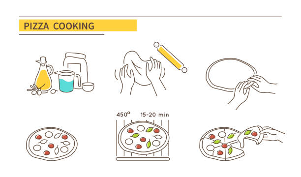 pizza Pizza cooking directions. Steps how to prepare pasta. Vector illustration. pastry dough stock illustrations