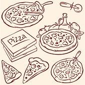 Pizza, pencil drawing illustration