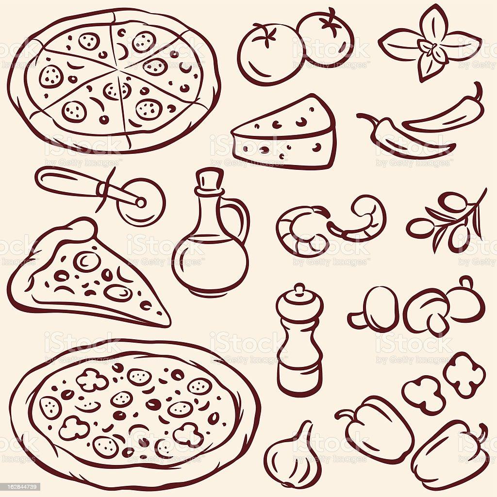 Pizza - Lizenzfrei Basilikum Vektorgrafik