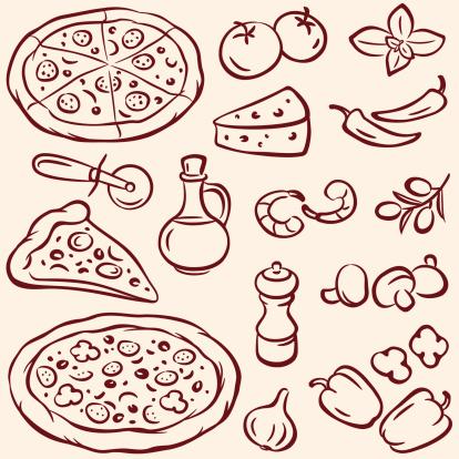 Pizza Stock Vektor Art und mehr Bilder von Basilikum