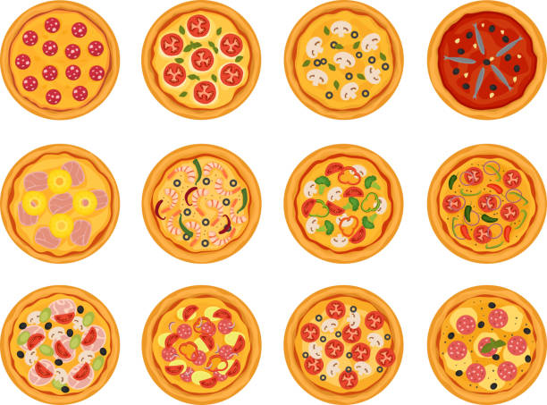 ilustrações de stock, clip art, desenhos animados e ícones de pizza vector italian food with cheese and tomato in pizzeria or pizzahouse illustration set of baked pie in italy isolated on white background - sauce tomatoes