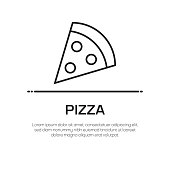 Pizza Vector Line Icon - Simple Thin Line Icon, Premium Quality Design Element