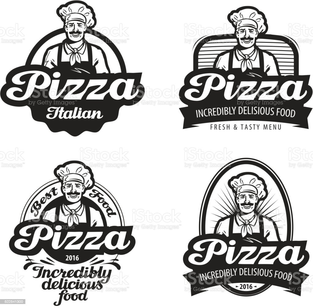 Pizza Vector Logo Cafe Food Pizzeria Restaurant Or Chef Icon Stock  Illustration - Download Image Now