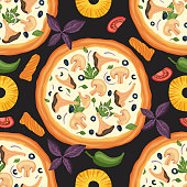 Italian cheese mushroom pizza vector illustration with chanterelles and champignons. Delicious tasty snack seamless pattern with pineapple, tomato, pepper and olives, Flat design.