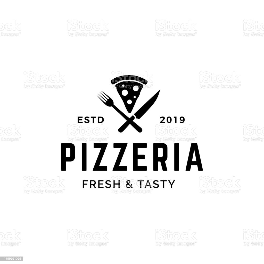 Pizza with crossed fork and knife logo design - Векторная графика Базилик роялти-фри