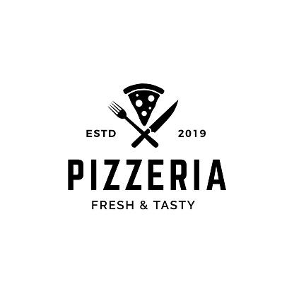 Pizza With Crossed Fork And Knife Logo Design — стоковая векторная графика и другие изображения на тему Базилик