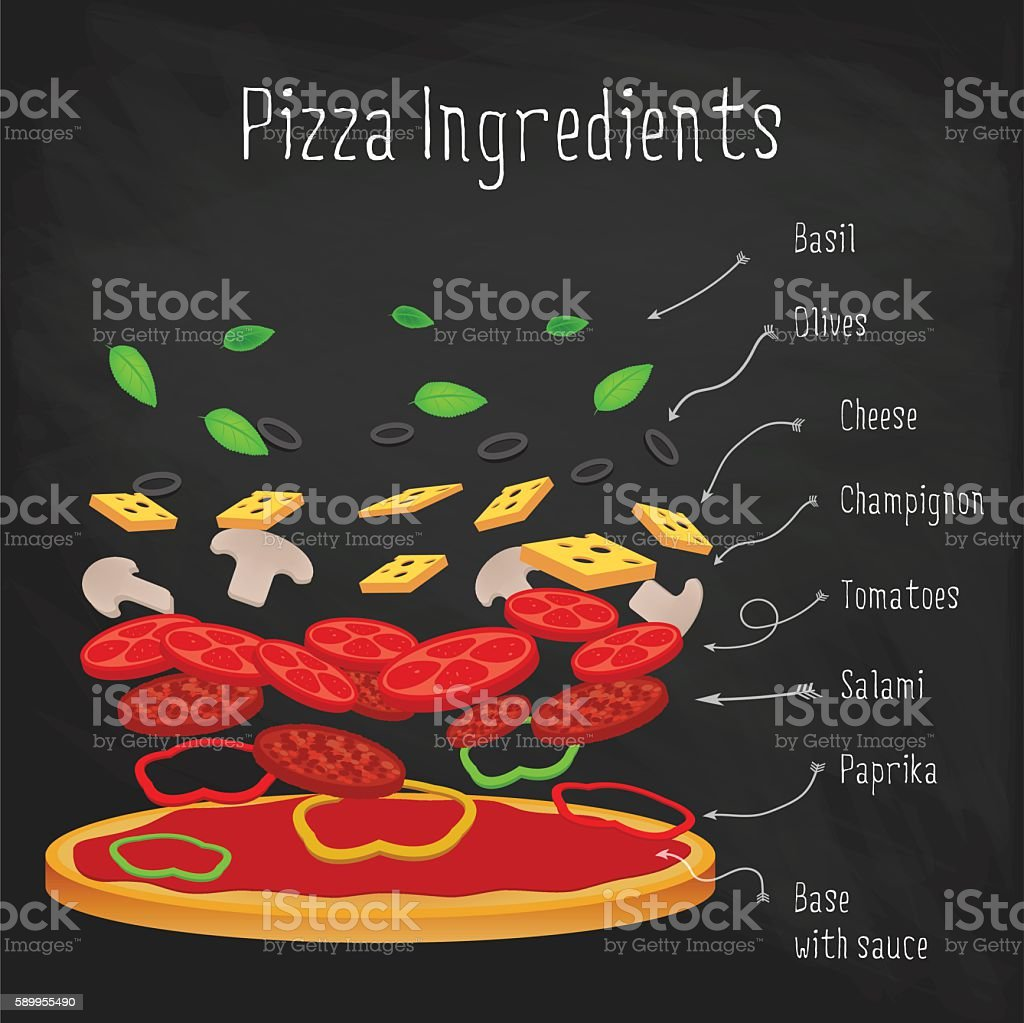 Pizza with ingredients on the chalkboard. Italian recipe vector art illustration