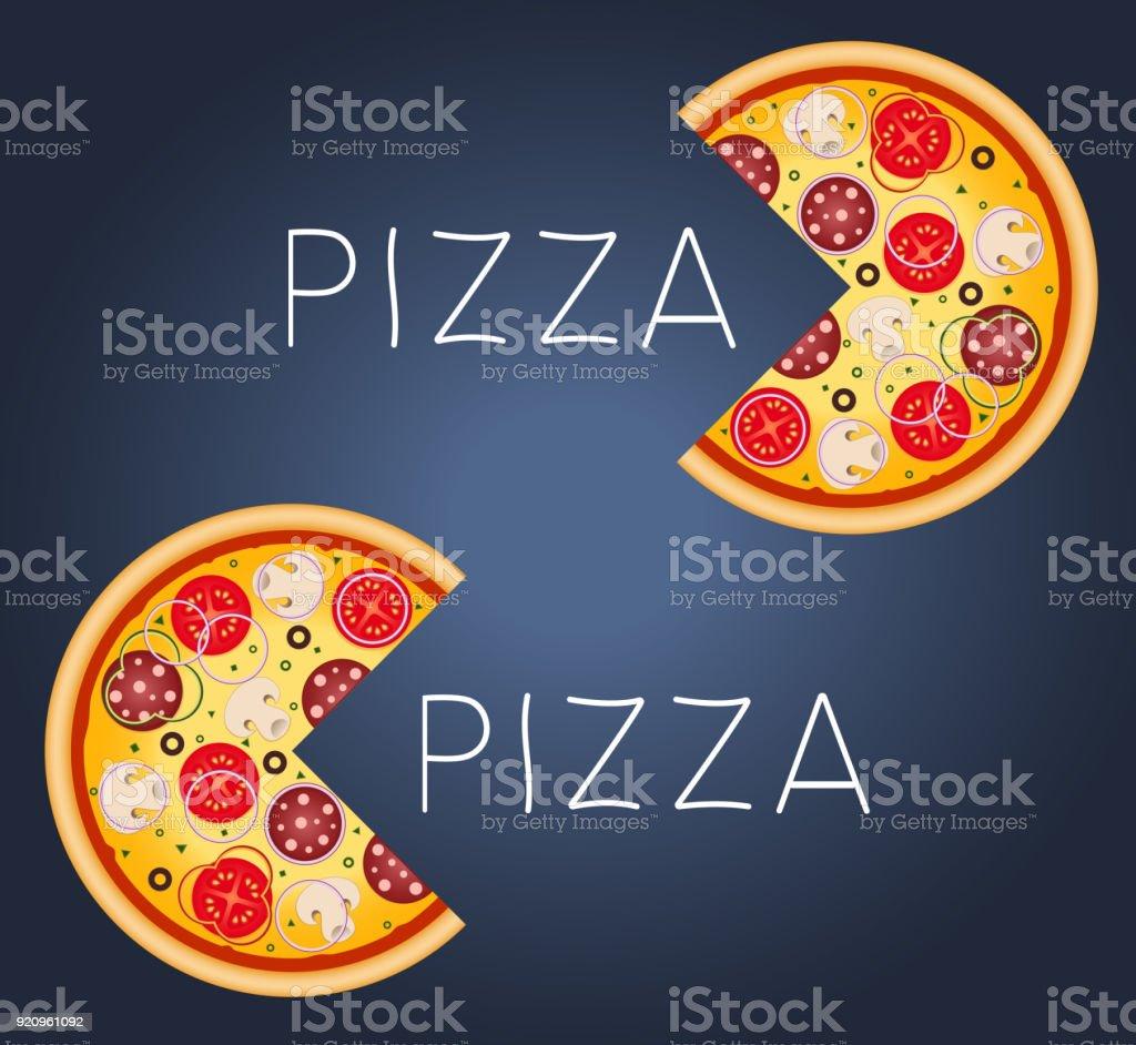 Pizza com cogumelos, salame, tomate e salsicha. - ilustração de arte em vetor
