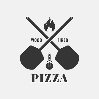 Pizza with oven shovel. Wood fired pizza on white background