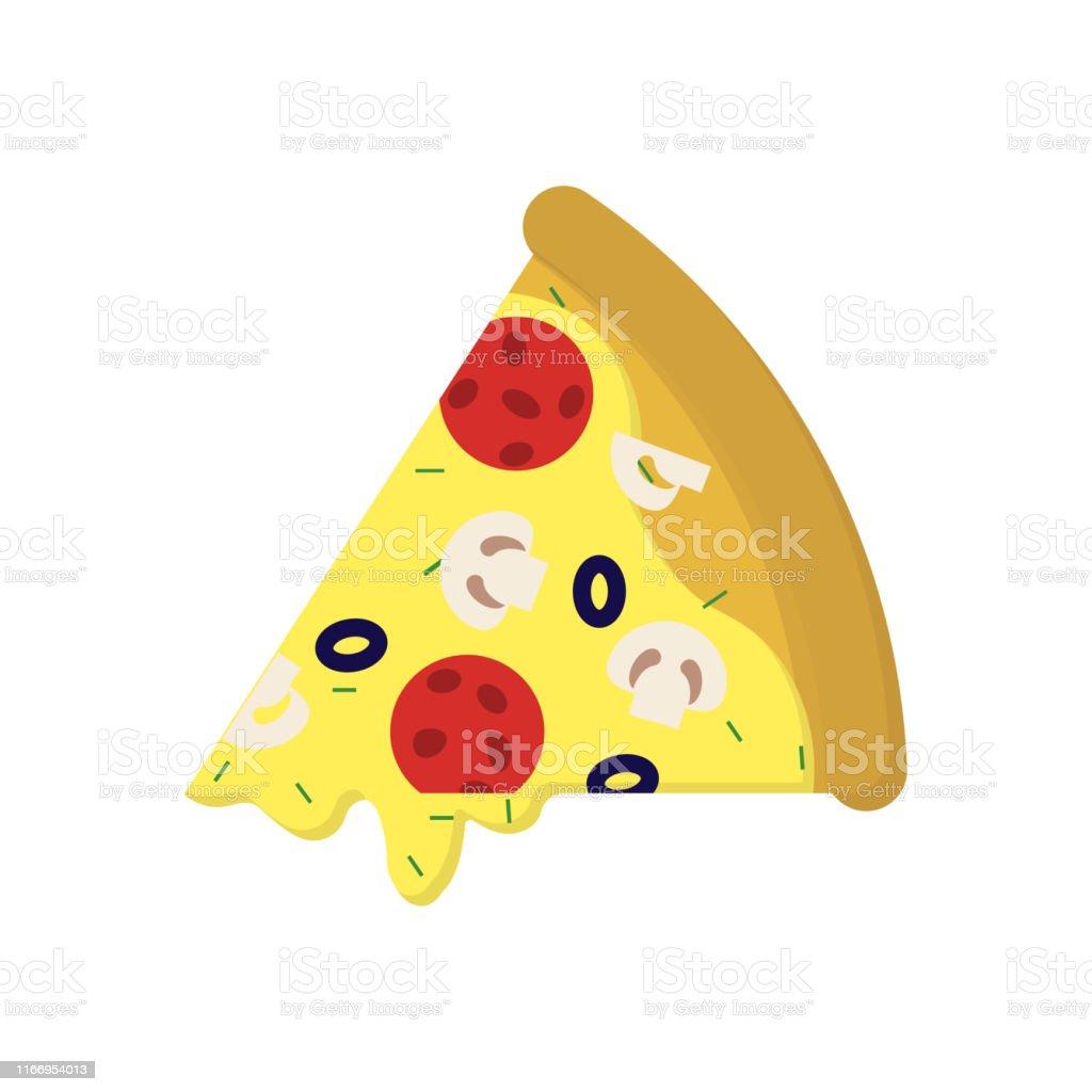 Pizza mit Wurst und Pilzen in der Wohnung - Lizenzfrei Backen Vektorgrafik
