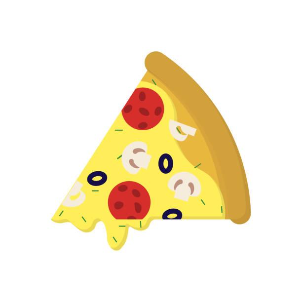 pizza mit wurst und pilzen in der wohnung - scheibe portion stock-grafiken, -clipart, -cartoons und -symbole